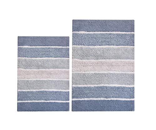 Chardin Home - 100% Pure Cotton - 2 Piece Cordural Stripe Bath Rug Set, (21''x34'' & 17''x24'') Blues with Latex spray non-skid backing