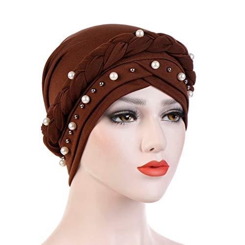 (Kimloog Women Solid One Tail Beads Turban Hat Chemo Head Wrap)