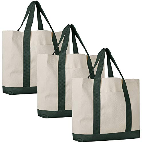 (Pack of 3 - Heavy Duty Cotton Canvas Twill Travel Tote Bags Large Thick Reusable Blank Tote Bags - Shopping Grocery Bags Eco Friendly Canvas Bags in Bulk)