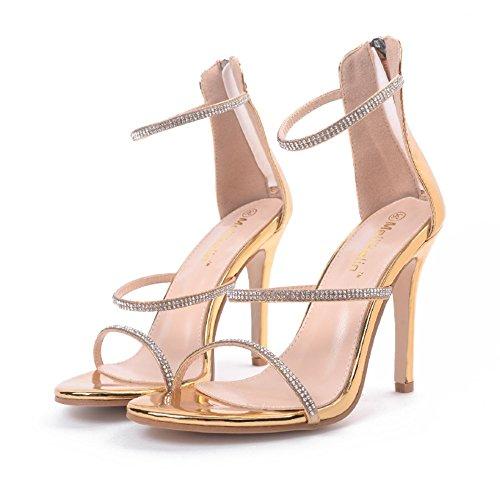 chaussures creux Taille romaines mode chaussures de sandales ouvert à 40 bout été soirée Color sandales 2018 Mesdames talons Noir sandales sexy hauts élégantes Gold 81Awqv00F