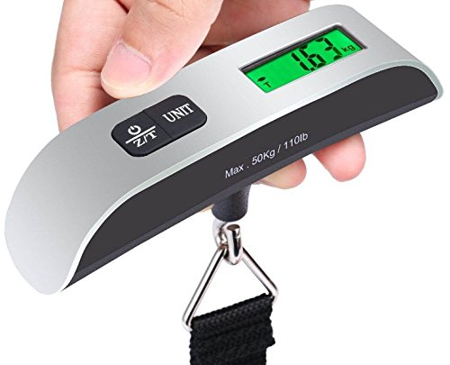 Robertgle Mini Digital Luggage Scale Hand Held LCD Electronic Scale Electronic Hanging Scale Thermometer 50kg/110lb Capacity Weighing Device