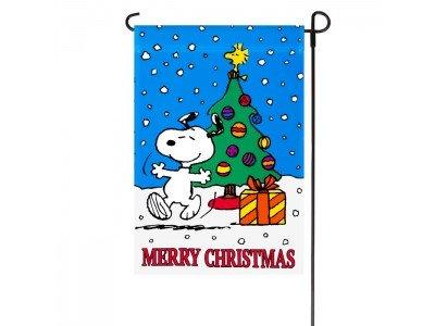 Peanuts MERRY CHRISTMAS GARDEN FLAG 12