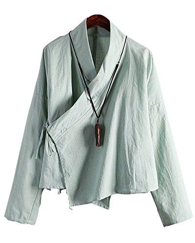 ジョブティッシュ堤防Aeneontrue レディース シャツ 長袖 綿麻 無地 和風 Vネック リボン付き ゆったり かわいい レトロ エスニック ブラウス トップス 4色展開
