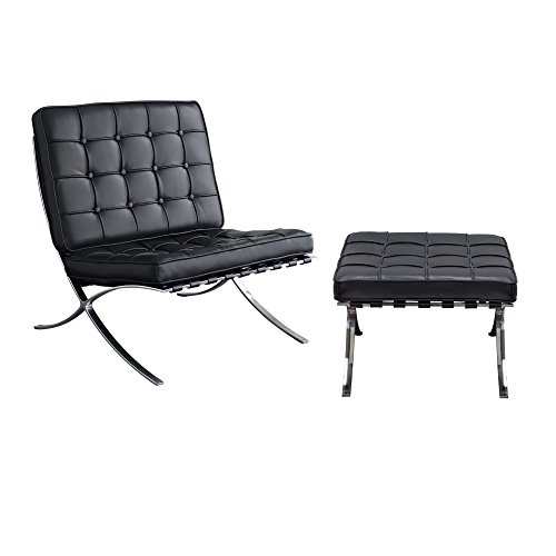 Diamond Sofa Cordoba Tufted Chair & Ottoman 2PC Set w/Stainless Steel Frame Black- # CORDOBA2PCBL