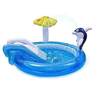 LeKing Centro de juegos acuático con tobogán, piscina para niños de jardín con aspersor de agua Dolphin Spray, tobogán para piscina, piscina hinchable