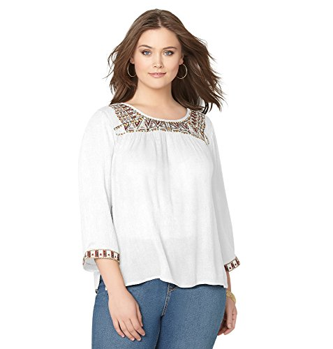 AVENUE Women's Beaded Embroidery Peasant Top, 22/24 White