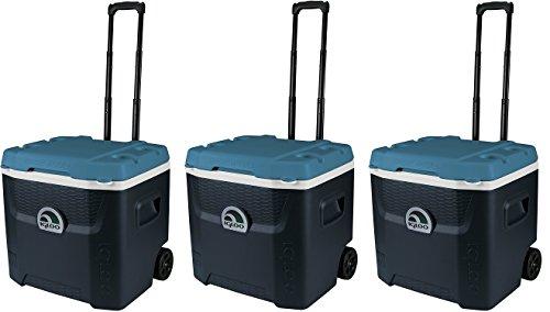 Igloo Max Cold Quantum Roller Cooler, Jet Carbon/Ice Blue/White, 52 quart (3.PACK) -  91484519849541984