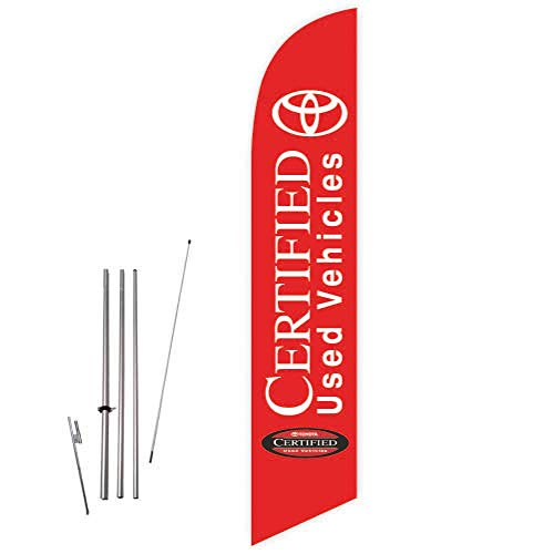 Cobb Promo Toyota Certified Used Vehicles (Red) Feather Flag with Complete 15ft Pole kit and Ground Spike