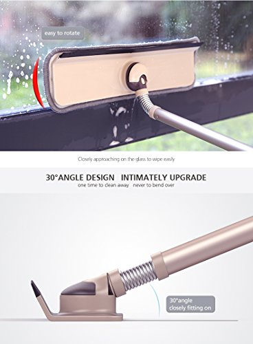 Window Squeegee   Microfiber Extendable Window Scrubber/Cleaner   360 Degree Flexible Connector & Telescopic Handle   Ideal Cleaning for Glass Window, Shower and Auto