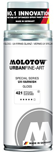 Molotow Urban Fine Art UV Varnish Gloss Spray Paint, 400ml Can, Clear Gloss by Molotow