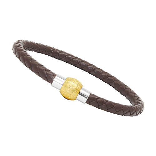Stainless Bracelet Steel Cuff Sand (LZD Unisex Men's Genuine Leather Stainless Steel Magnetic Clasp Bracelet Brown (12 - Oval Sand Magnetic Gold))