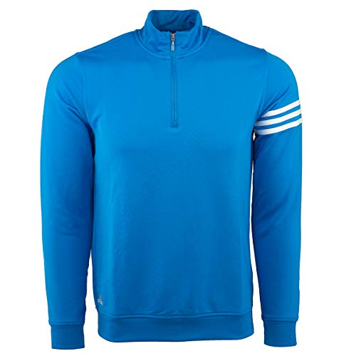 (adidas Men's Climalite 3-Stripe 1/4 Zip, Oasis/White, X-Large)