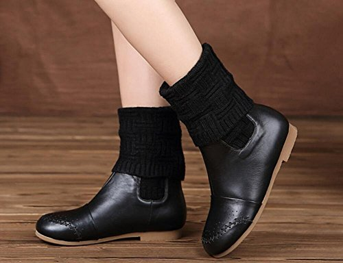 Comfortable Flat Platform Genuine Leather Folding Women's Bootie Plus Velvet Knitting Long Boots 39 EJtcM