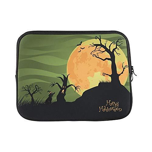 Design Custom Creepy Halloween Trees Cat Jpg Sleeve Soft Laptop Case Bag Pouch Skin for MacBook Air 11