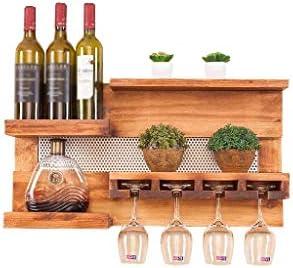 NXYJD En Bastidor de Madera rústica Vino Vino sostenedor del Estante de Vino de Madera con Soporte de la Copa de Vino, Vino de Almacenamiento en Rack Hogar, decoración de la Cocina
