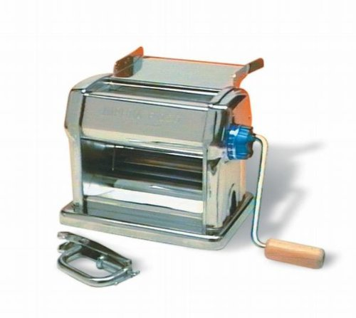 Pasta Maker Machine by Imperia- Professional Grade Restaurant Manual Pasta Roller w Handle, Clamp and Tray