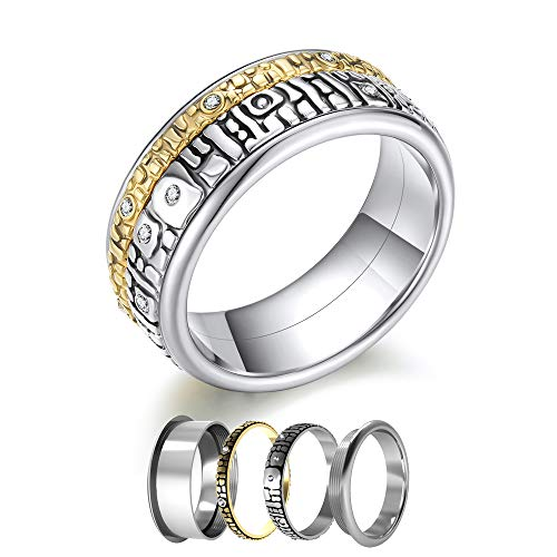 Floya Rolling High Polish Rings 8MM Enternity Ring Gold Plated Wedding Band Size 6 7 8 9 10