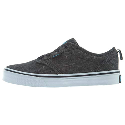 (Vans Kids Elastic Lace Atwood Slip-On (Canvas) Black/Hawaiian Ocean Skateboarding Shoes VN0004LMFN8 (US 12.5)