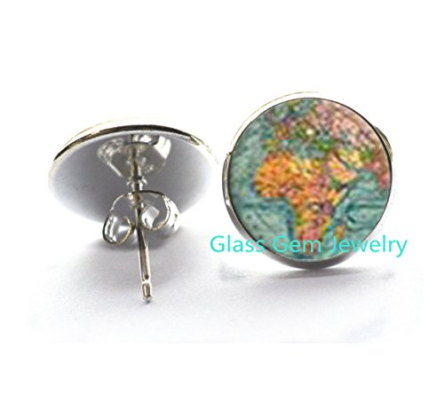 Antique World Map Earrings , Antique World Map Stud Earrings, Charming Map, Best Friend Gift, world map Earrings , antique map jewelry, map resin Stud Earrings,Q0155 from glass gem jewelry