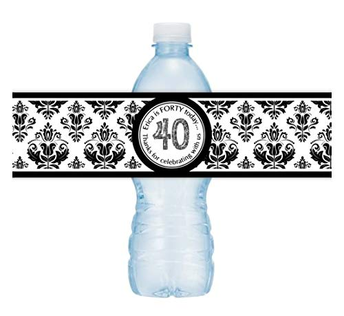 Black Damask Water Bottle Labels, 40th Birthday Labels, Fit on 16.9 oz water bottles (25 count) ()