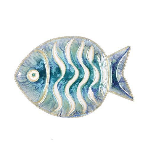 - Chinoiseriehouse Sea World Ceramic Wall Decor Fish Shaped Hanging Plate (B)