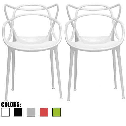 2xhome Set of 2 White Stackable Contemporary Modern Designer Wire Plastic Chairs with Arms Open Back Armchairs for Kitchen Dining Chair Outdoor Patio Bedroom Accent Balcony Office Work Garden Home