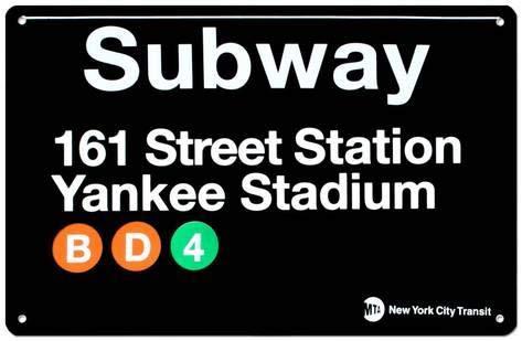 KPSheng Subway 161 Street Station- Yankee Stadium 12 x 16 Metal Sign