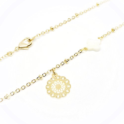 18k Filigree Pendant - 18k Yellow Gold-Plated Mandala Filigree Pendant Necklace 16