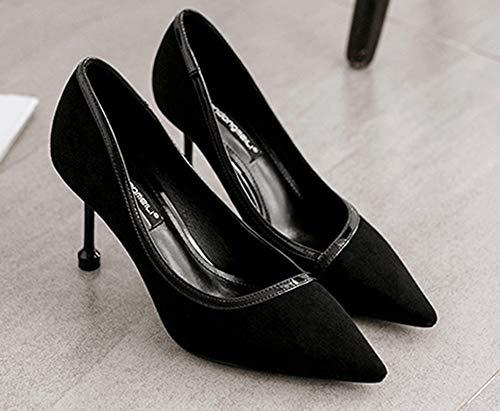 Femme Fermeture Pointue Bouche Noir Mode Aisun 1fqd66