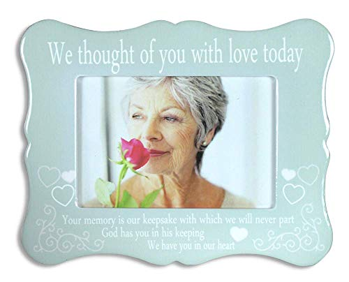BANBERRY DESIGNS Memorial Frame - We Thought of You with Love Today - Ceramic Plaque with Memorial Poem - Bereavement Gift - Sympathy - Condolence - in Loving - Poems Memory Loving
