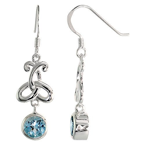 Sterling Silver Triquetra Earrings Celtic Trinity Knot Gemstone Dangling Fishhook Flawless Finish 1 3 8 inch