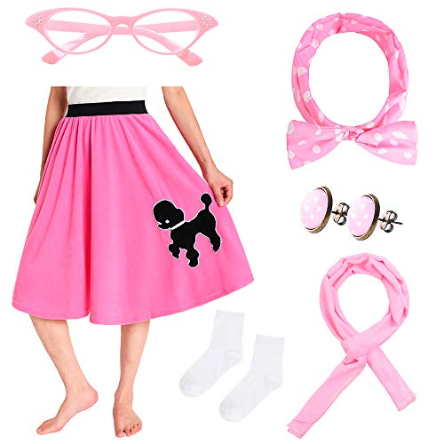 JustinCostume Women's 50's Outfit Poodle Skirt Costume Kit Medium/Large Pink ()