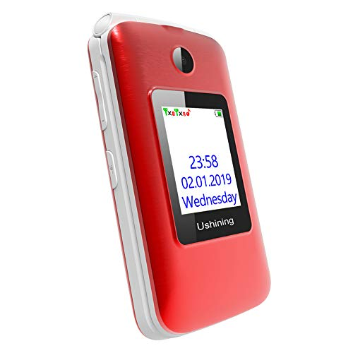 Ushining 3G Unlocked Flip Cell Phone for Senior & Kids,Easy-to-Use Big Button Cell Phone with Charging Dock (Red) by USHINING (Image #5)