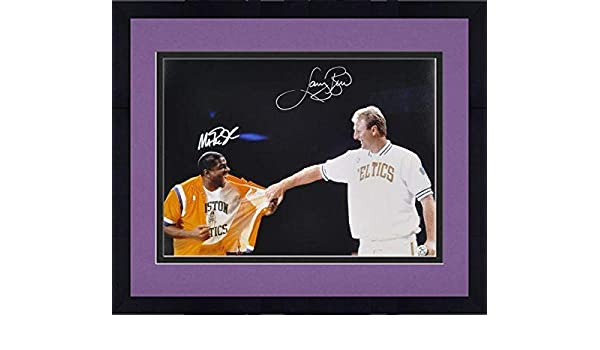 7fccdc55902 Framed Larry Bird & Magic Johnson Boston Celtics Los Angeles Lakers Dual  Signed 16