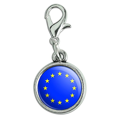 Europa Lobster - Antiqued Bracelet Pendant Charm with Lobster Clasp Country National Flag C-I - EU European Union Europe National Country Flag