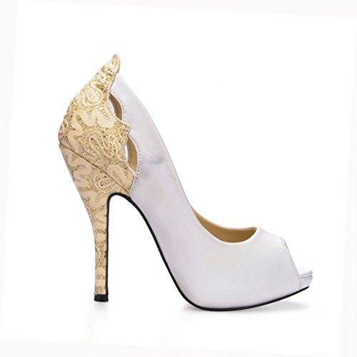 11CM Embroidery Autumn Faux Women's High Stiletto Peep Rubber Sole Spring Heels 4U Best Silk Toe Shoes qCXXZO