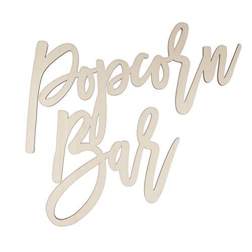 (Prettyia Exquisite Freestanding Popcorn Bar Wooden Sign Wedding Birthday Party Venue Decor 38.5 x 40 cm)