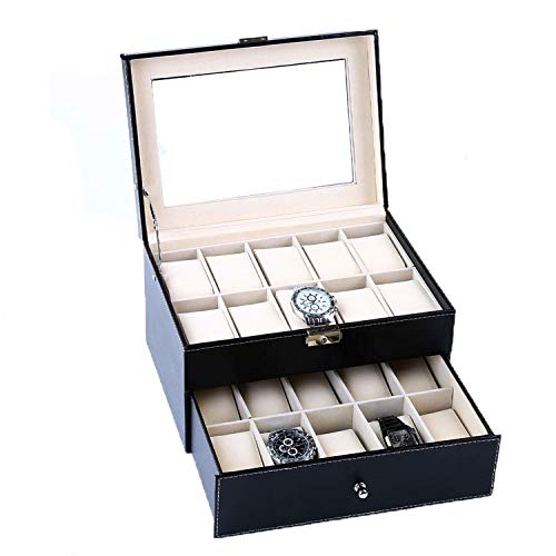 PENGKE 2 Tier and 20 Slot Watch Box Organizer with Pillow Case, Luxury Premium Leather