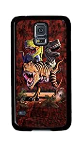 Samsung Galaxy S5 Case, S5 Cases - Rex Collage Dinosaur Ultimate Protection Scratch Proof Soft TPU Rubber Bumper Case for Samsung Galaxy S5 I9600 Black
