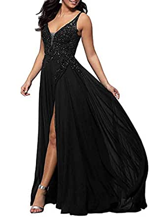 Jonlyc A-line Lace Appliques Prom Dress Sleeveless Chiffon Long Formal Party Gown with High Slit Black 17W