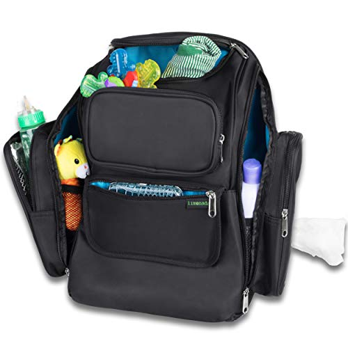 Baby Diaper Backpack by MyLimonada - Large Diaper Bag with Insulated Pockets - Changing Pad and Wipes Dispenser – Washable – Durable - Unisex. Black
