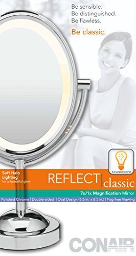416qL2iFFOL Conair Oval Shaped Double-Sided Lighted Makeup Mirror, 1x/7x magnification, Polished Chrome Finish