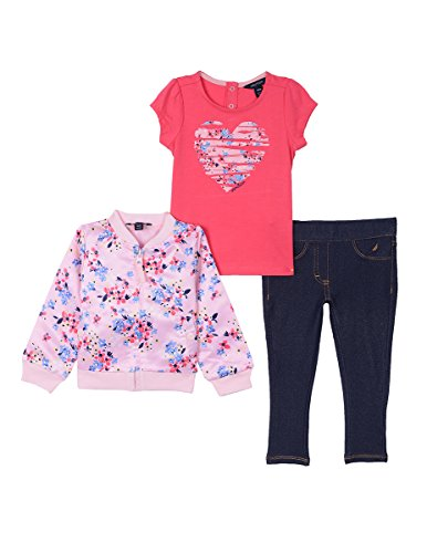 Nautica Baby Girls' Three Piece Sweater, Top and Pant Set, Light Pink Hearts, 12 Months by Nautica