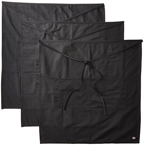 Dickies Chef 3 Pack Full Bistro Apron with Pencil Pocket, Black, One Size by Dickies