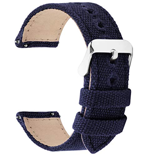 Fullmosa 9 Colors for Quick Release Watch Band, Military Canvas Watch Strap 22mm 20mm 24mm 18mm 16mm 14mm Watch Bands for Men Women, 22mm Dark Blue