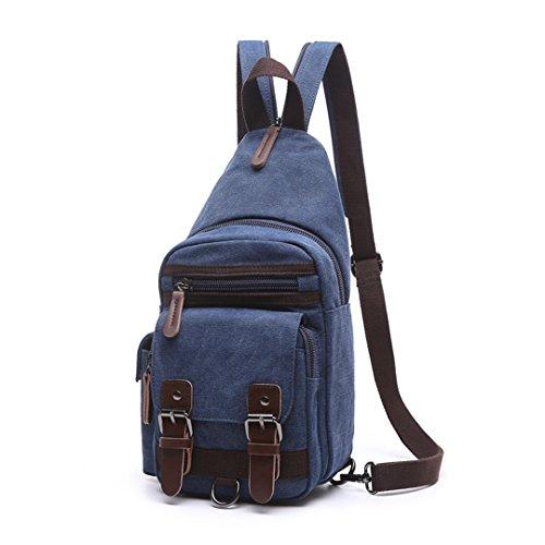 Wewod Mujeres y Hombres Lona del Moda Ocio Mochila Pequeña Honda Bolsa de Hombro Paquete de Pecho 17 x 34 x 10 cm (L*H*W) Azul oscuro