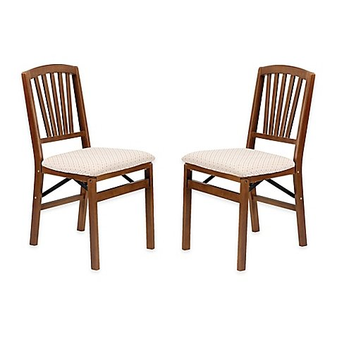Classic Mission Style Design Wood Folding Chair in Warm in Fruitwood Finish, Feature Durable Steel Folding Mechanism (Set of 2)
