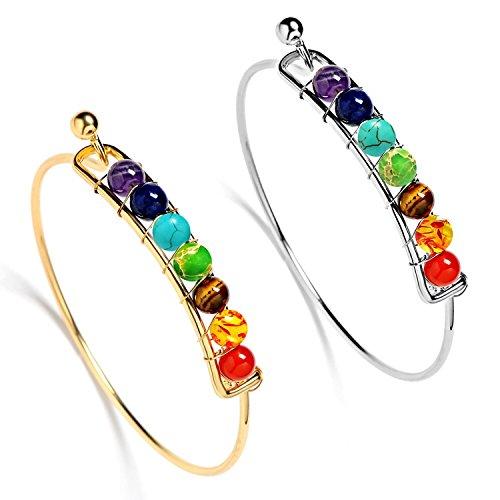 atural Gemstone Beads Bracelet Colorful Crystal Handmade Beaded Bracelet Cuff Bangles for Yoga Meditation, Energy Healing - 2 Pack ()
