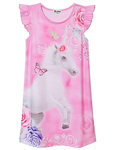 Flower Unicorn Nightgown for Girls Size 8 9 Summer Sleeveless Cotton Nighty Pink ()