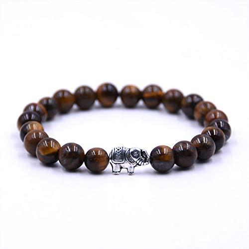 FBSL Bracelet 8Mm Beaded Black Natural Stone Beads Elastic Bracelets for Women and Men Tiger Eye Bracelets Mujer